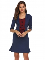 Bleu marine Bleu marine Vintage Style Lapel Button Half Sleeve Bow Party Bodycon Robe de soirée