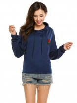 Dark blue Long Sleeve Rose Applique Elastic Cuffs Pullover Hoodie
