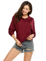 Wine red Long Sleeve Rose Applique Elastic Cuffs Pullover Hoodie