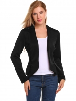 Black V-Neck Long Sleeve Open Front Slim Fit Blazer