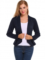 Navy blue V-Neck Long Sleeve Open Front Slim Fit Blazer