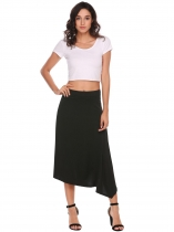Black Asymmetrical Hem Back Zipper Solid Skirts