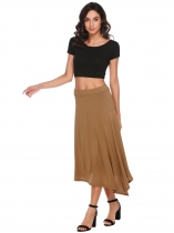 Coffee Asymmetrical Hem Back Zipper Solid Skirts