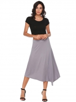 Dark Grey Asymmetrical Hem Back Zipper Solid Skirts