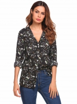 Black Long Sleeve O Neck Floral Print Loose Chiffon Shirt