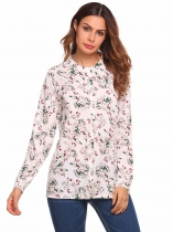 White Long Sleeve O Neck Floral Print Loose Chiffon Shirt