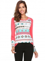 Pink O-Neck Long Sleeve Printed Contrast Color Pockets T-Shirt