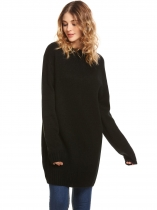Black Mulheres Camisola de manga comprida Loose Sweater Dress
