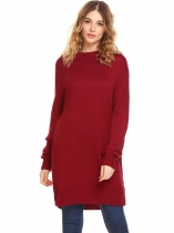 Dark red Women Long Sleeve Pullover Loose Tunic Sweater
