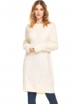 White Women Long Sleeve Pullover Loose Tunic Sweater