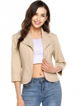 Apricot Turn Down Collar Lightweight 3/4 Sleeve Solid Fitted Open Blazer