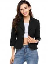 Noir New Women Casual Turn Down Collar Lightweight 3/4 Sleeve Solid Clitted Blazer ouvert