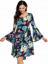 Navy blue Ruffles Flare Sleeve Floral O Neck Shift Dress