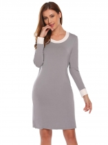 Gray Femmes Casual O neck Long Sleeve Contraste Couleur Robe