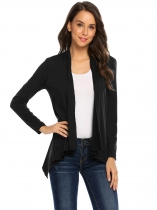Black Women Casual Long Sleeve Open Front Asymmetrical Cardigan