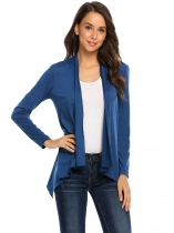 Navy blue Women Casual Long Sleeve Open Front Asymmetrical Cardigan