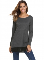 Grey Long Sleeve O Neck Chiffon Hem Patchwork Loose Tops
