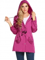 Purple Women Long Sleeve Solid Hooded Zip Up Rainproof Windproof Raincoat