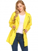 Yellow Women Long Sleeve Solid Hooded Zip Up Rainproof Windproof Raincoat