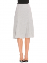 Grey High Waist Solid Mermaid Hem Pencil Woolen Skirt