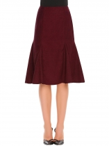 Wine red High Waist Solid Mermaid Hem Pencil Woolen Skirt