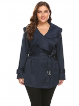 Navy blue Women Plus Size Lapel Long Sleeve Short Trench Coat with Belt