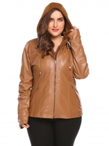 Brown Women Plus Size Solid Hooded Long Sleeve Faux-Leather Jacket