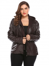 Dark brown Women Plus Size Solid Hooded Long Sleeve Faux-Leather Jacket