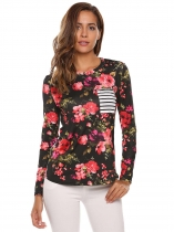 Black Floral Back Striped O-Neck Long Sleeve Tops