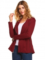 Wine red Solid Lapel Long Sleeve Side Zip Asymmetric Slim Fit Pocket Coats
