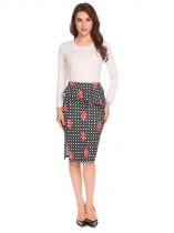 Black white Women Casual Ruffles Elastic Waist Solid/Printed Side Split Pencil Skirt