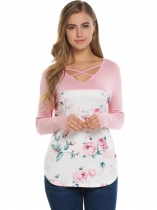 Pink Criss Cross V-Neck Long Sleeve Floral Print Tops