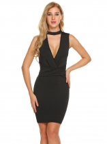 Black Choker Neck Sleeveless Backless Bodycon Dress