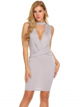 Gris claro Mujeres Halter V cuello sin mangas Backless Dracon Bodycon Party Club Dress