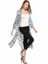 Floral Print Beach Long Sleeve Open Front Split Long Smock