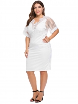 White Plus Size V-Neck Hollow Lace Patchwork Bodycon Dress