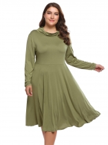 Army green Plus Size Long Sleeve Solid A-Line Dress
