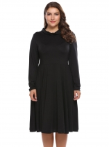 Black Plus Size Long Sleeve Solid A-Line Dress
