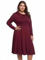 Wine red Plus Size Long Sleeve Solid A-Line Dress