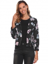 Black Women Fashion Floral Long Sleeve Zip-up Lightweight Jacket