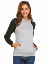 Light gray Women's Hooded Contrast Color Casual Slim Pullover Hoodie