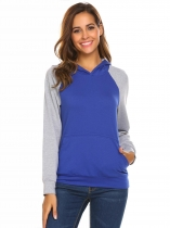 Royal Blue Women's Hooded Contrast Color Casual Slim Pullover Hoodie