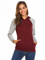 Wine red Women's Hooded Contrast Color Casual Slim Pullover Hoodie
