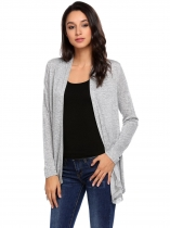 Light gray Long Sleeve Open Front Lace-Trim Asymmetrical Casual Cardigan