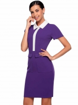 Dark purple Formal Short Sleeve Knee Length Solid Turn Down Collar Pencil Work Business Dress