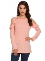 Pink Long Sleeve Ruffled Cold Shoulder O Neck Solid Tops
