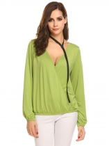 Mulheres verdes V-Neck Cross Front manga comprida Faux Wrap Pullover Blusa Top w / Neck Band