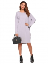 Light gray Solid Long Bat Sleeve O-Neck Dress