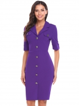 Violet Vintage Style Half Sleeve Solid Navy Style Slim Business Bodycon Casual Dress