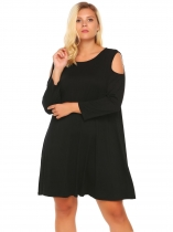 Black Plus Size Cold Shoulder Long Sleeve Solid Loose Dress